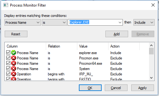 Setting the filter to Include explorer.exe